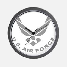 USAF-Symbol-Gray-With-Curved-Text Wall Clock