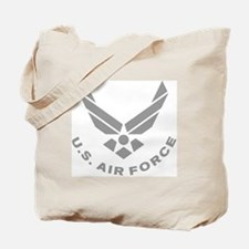USAF-Symbol-Gray-With-Curved-Text Tote Bag