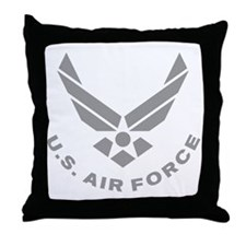 USAF-Symbol-Gray-With-Curved-Text Throw Pillow