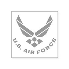 "USAF-Symbol-Gray-With-Curve Square Sticker 3"" x 3"""