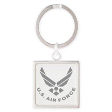 USAF-Symbol-Gray-With-Curved-Text Square Keychain