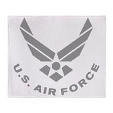 USAF-Symbol-Gray-With-Curved-Text Throw Blanket