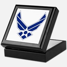 USAF-Symbol-Blue-On-White Keepsake Box