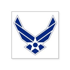 "USAF-Symbol-Blue-On-White Square Sticker 3"" x 3"""