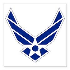 "USAF-Symbol-Blue-On-Whit Square Car Magnet 3"" x 3"""