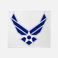 USAF-Symbol-Blue-On-White Throw Blanket