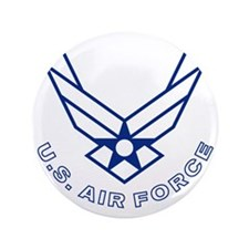 """USAF-Symbol-With-Curved-Text-White-On- 3.5"""" Button"""