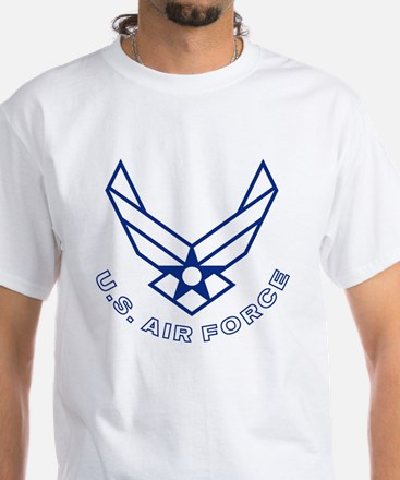 USAF-Symbol-With-Curved-Text-Whit White T-Shirt