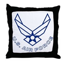 USAF-Symbol-With-Curved-Text-White-On Throw Pillow