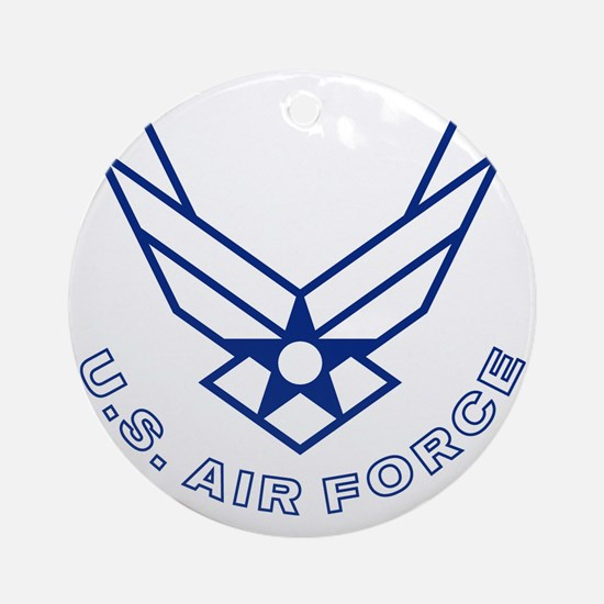 USAF-Symbol-With-Curved-Text-White- Round Ornament