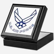 USAF-Symbol-With-Curved-Text-White-On Keepsake Box