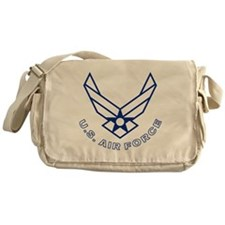 USAF-Symbol-With-Curved-Text-White-O Messenger Bag