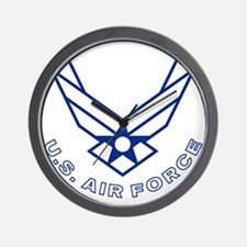 USAF-Symbol-With-Curved-Text-White-On-B Wall Clock