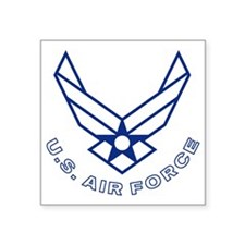 "USAF-Symbol-With-Curved-Tex Square Sticker 3"" x 3"""