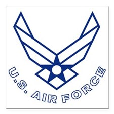 """USAF-Symbol-With-Curved- Square Car Magnet 3"""" x 3"""""""