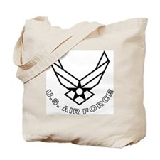 USAF-Symbol-With-Curved-Text-White-On-Bla Tote Bag