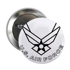"""USAF-Symbol-With-Curved-Text-White-On 2.25"""" Button"""