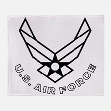 USAF-Symbol-With-Curved-Text-White-O Throw Blanket