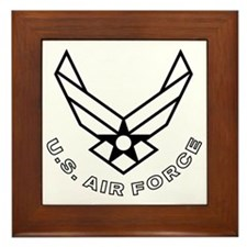 USAF-Symbol-With-Curved-Text-White-On- Framed Tile