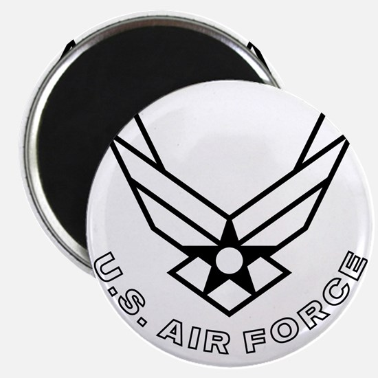 USAF-Symbol-With-Curved-Text-White-On-Black Magnet
