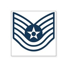 "USAF-TSgt-Blue-Four-Inches Square Sticker 3"" x 3"""