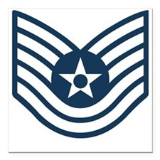 "USAF-TSgt-Blue-Four-Inch Square Car Magnet 3"" x 3"""