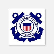 "USCG-Veteran-Bonnie Square Sticker 3"" x 3"""
