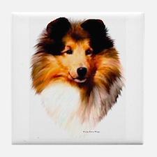 """Sheltie Headstudy"" Tile Coaster"