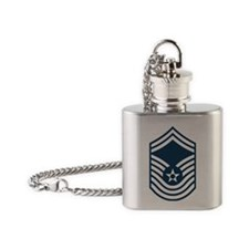 USAF-CMSgt-Old-Blue-PNG Flask Necklace