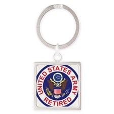 Army-Retired-Patch-8th-Infantry-Di Square Keychain