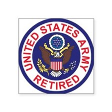 "Army-Retired-Patch-8th-Infa Square Sticker 3"" x 3"""
