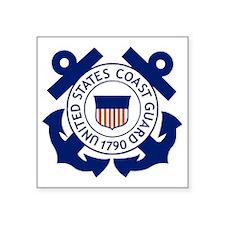 "USCG-Logo-Blue-White Square Sticker 3"" x 3"""