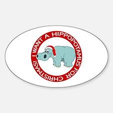 Christmas Hippo Oval Decal