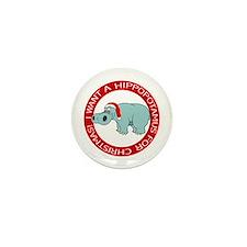 Christmas Hippo Mini Button
