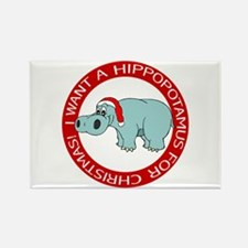 Christmas Hippo Rectangle Magnet
