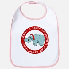 Christmas Hippo Bib