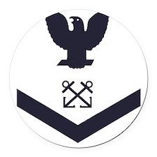 USCG-Rank-BM3-Crow-Subdued-Blue-P Round Car Magnet