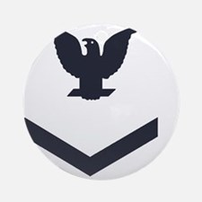 USCG-Rank-PO3-Crow-Whites-Obsolete- Round Ornament