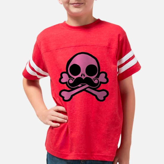 Pink Skull With Moustache Youth Football Shirt