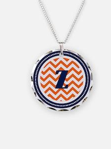 Orange Chevron Z Monogram Necklace