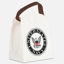 Navy-Logo-Black-White-Red Canvas Lunch Bag