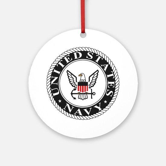 Navy-Logo-Black-White-Red Round Ornament