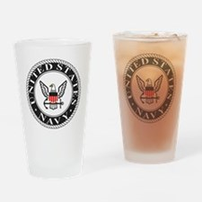 Navy-Logo-Black-White-Red Drinking Glass