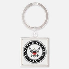 Navy-Logo-Black-White-Red Square Keychain