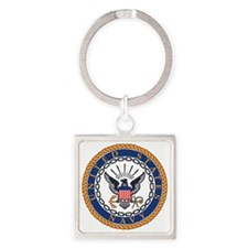 Navy-Emblem Square Keychain