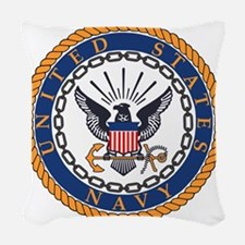 Navy-Emblem Woven Throw Pillow