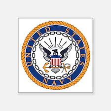 "Navy-Emblem Square Sticker 3"" x 3"""
