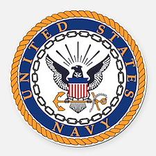 Navy-Emblem Round Car Magnet