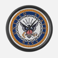 Navy-Emblem Large Wall Clock