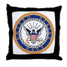 Navy-Emblem Throw Pillow